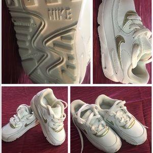 Girls White Nike Air Force 1 Tennis Shoe